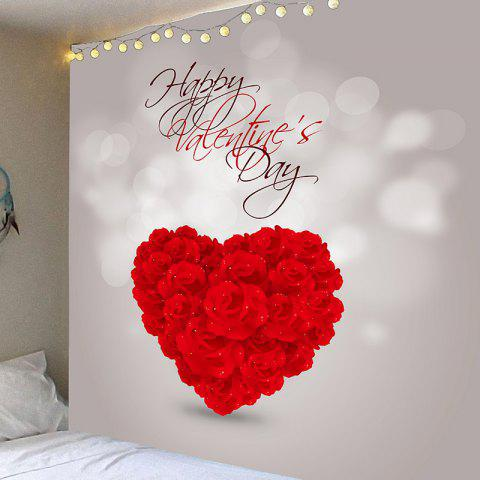 3cd05640a5 Waterproof Valentine s Day Rose Love Heart Patterned Wall Art Tapestry -  RED W79 INCH   L59