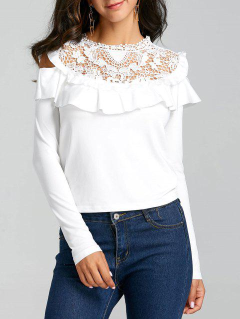 8e69c36948a135 17% OFF] 2019 Ruffle Open Shoulder Hollow Out Blouse In WHITE ...
