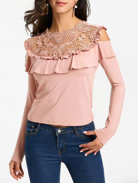 Ruffle Open Shoulder Hollow Out Blouse - PINK XL