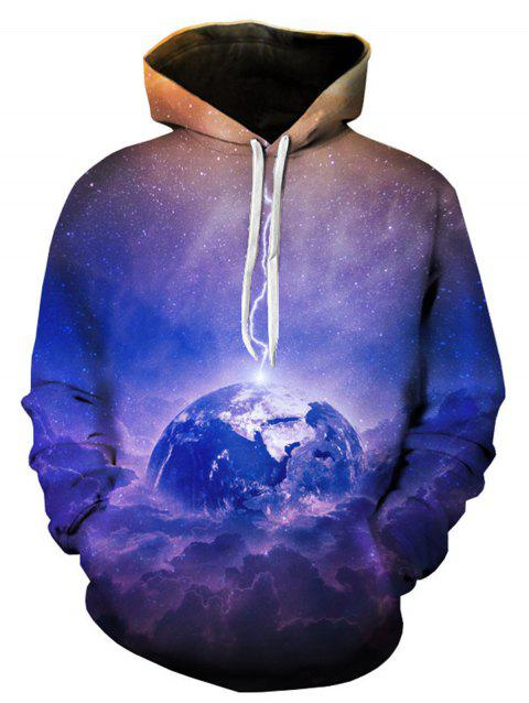 Earth Trippy Galaxy 3D Print Pullover Hoodie - COLORMIX L