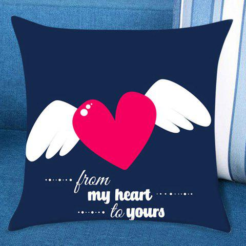 Valentine's Day Flying Heart Printed Linen Pillow Case - BLUE W18 INCH * L18 INCH