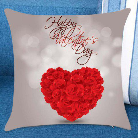 Rose Heart Print Valentines Day Linen Sofa Pillowcase - COLORMIX W18 INCH * L18 INCH