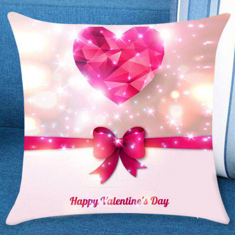 Heart Bowknot Print Valentines Day Linen Sofa Pillowcase - PINK W18 INCH * L18 INCH