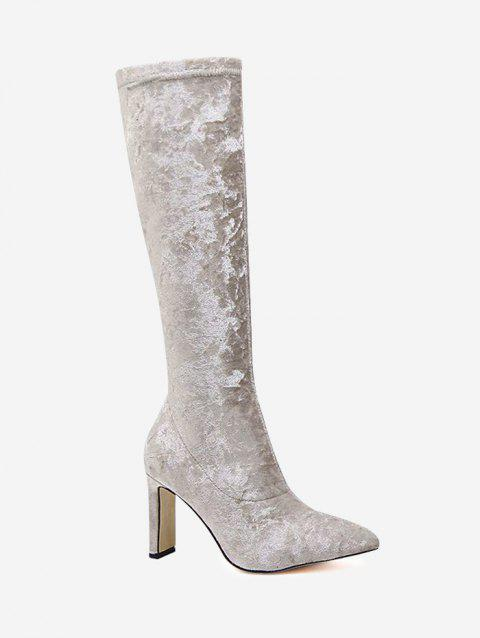 Zip Insert Crushed Velvet Knee Length Boots - APRICOT 39