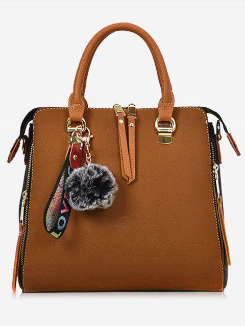 Letter Pompom Zip Faux Leather Handbag - BROWN