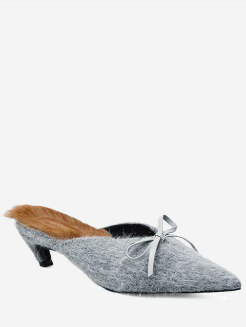 Bowknot Artificial Fur Mules Shoes - GRAY 39