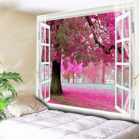 Window Scenery Tree Fallen Petal Pattern Wall Tapestry - COLORMIX W79 INCH * L59 INCH