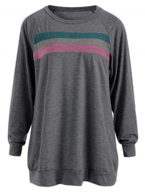 Plus Size Striped Panel Raglan Sleeve T-shirt - DEEP GRAY 2XL