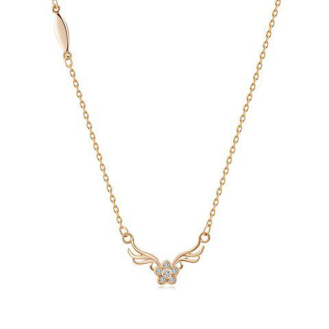 Rhinestone Collarbone Flower Deer Antlers Necklace - GOLDEN