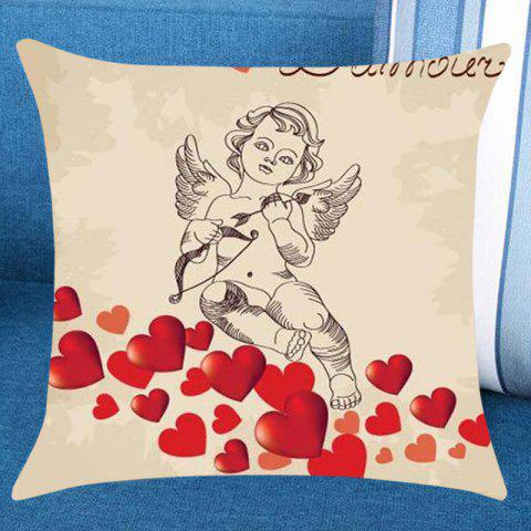 Cupid Hearts Printed Pillow Case - RED W18 INCH * L18 INCH