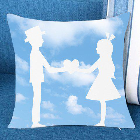 Blue Sky and Lover Printed Pillow Case - CLOUDY W18 INCH * L18 INCH