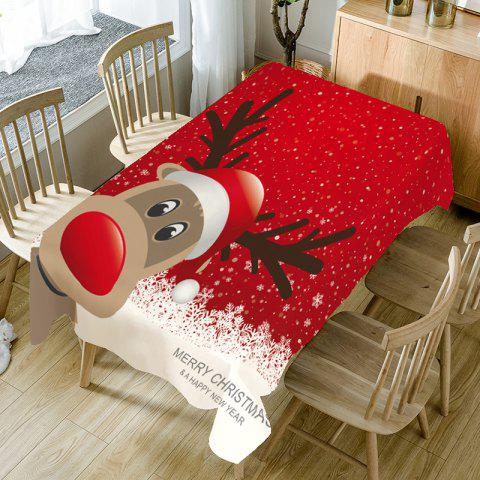 Snowflakes Christmas Elk Printed Table Cloth - RED/WHITE W60 INCH * L84 INCH
