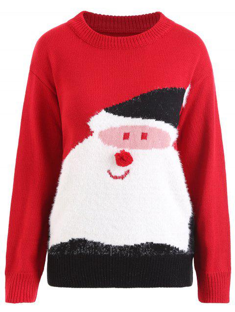 Plus Size Pom Christmas Santa Claus Sweater - RED ONE SIZE