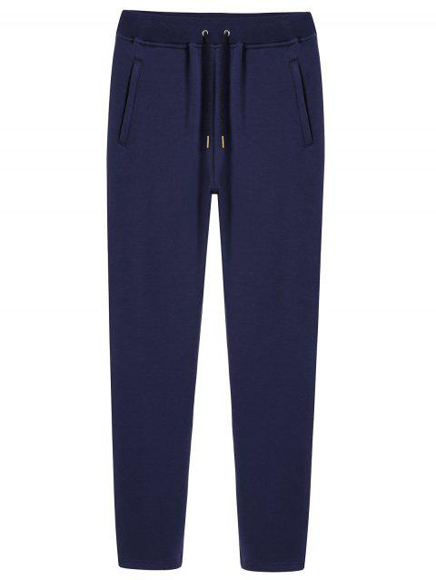 Casual Plush Lining Drawstring Straight Sweatpants - BLUE L