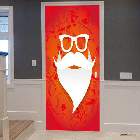Christmas Santa Mustache Pattern Door Stickers - RED 38.5*200CM*2PCS