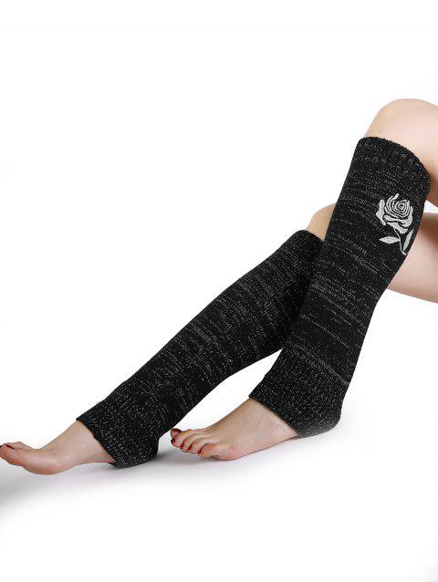 Vintage Rose Embroidery Decorated Knitted Leg Warmers - BLACK