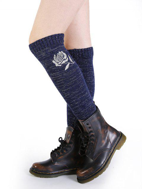 Vintage Rose Embroidery Decorated Knitted Leg Warmers - CADETBLUE