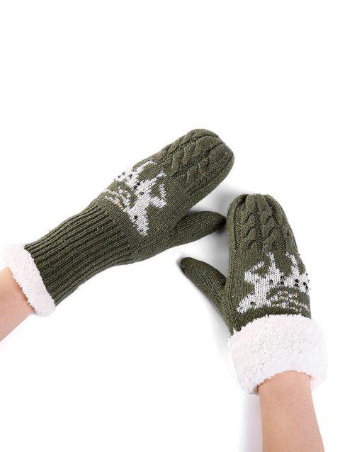 Christmas Elk Pattern Embellished Rhinestone Knitted Gloves - GREEN