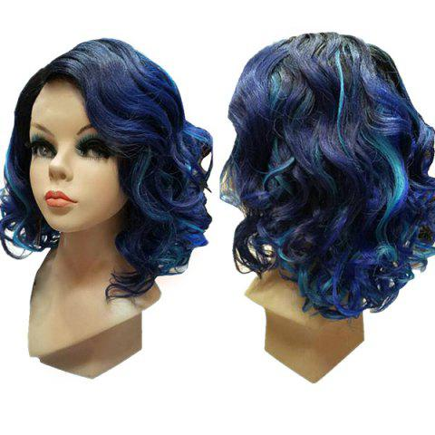 Medium Side Parting Wavy Bob Colormix Synthetic Wig - GRADUAL BLUE