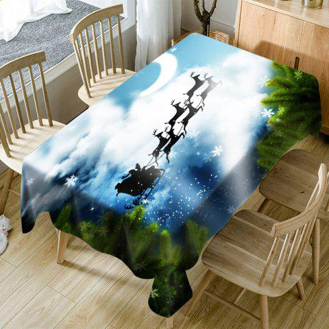 Christmas Elk Flying to the Moon Printed Fabric Table Cloth - BLUE W54 INCH * L72 INCH