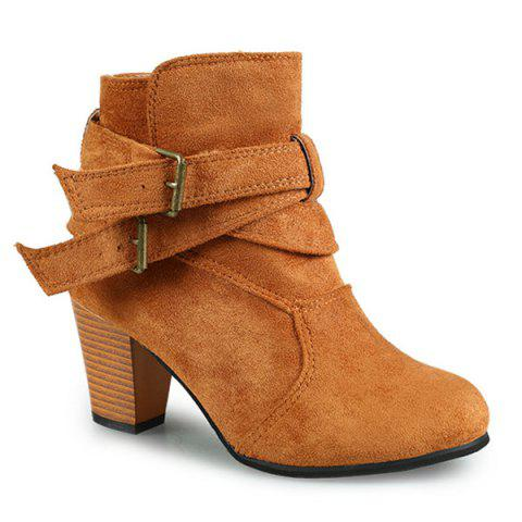 Buckle Strap Cone Heel Faux Suede Ankle Boots - BROWN 38