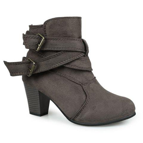 Buckle Strap Cone Heel Faux Suede Ankle Boots - DEEP GRAY 41