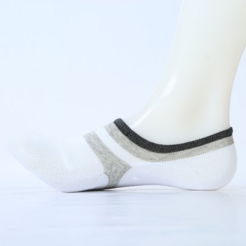 Pair of Stripe Pattern Embellished Cotton Ankle Socks - WHITE ONE SIZE