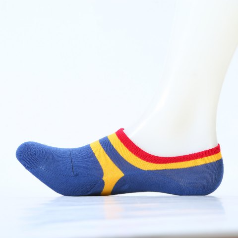 Pair of Stripe Pattern Embellished Cotton Ankle Socks - LAKE BLUE ONE SIZE