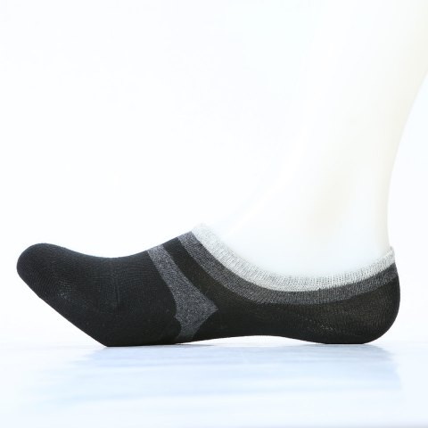 Pair of Stripe Pattern Embellished Cotton Ankle Socks - DEEP GRAY ONE SIZE