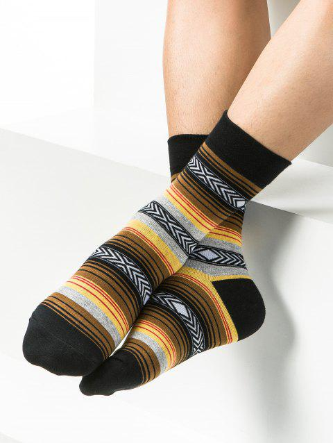 Simple Striped Pattern Decoration Tube Socks - YELLOW ONE SIZE