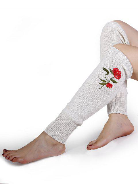 Rose Embroidery Color Splice Crochet  Knitted Leg Warmers - WHITE