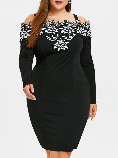 1b6c027e321 17% OFF  2019 Plus Size Long Sleeve Embroidered Cold Shoulder Dress ...
