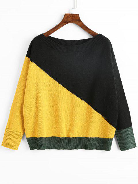 Slash Neck Color Block Pullover Sweater - YELLOW ONE SIZE