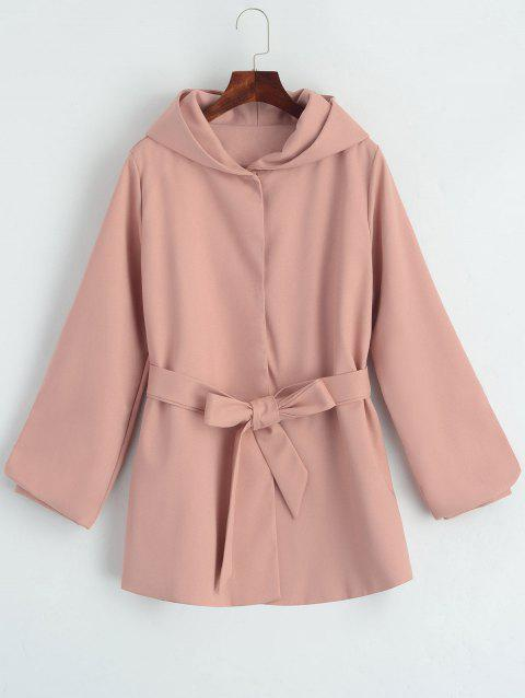 Belted Hooded Snap Button Coat - PINK L