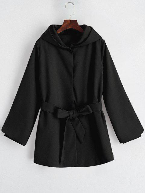 Belted Hooded Snap Button Coat - BLACK XL