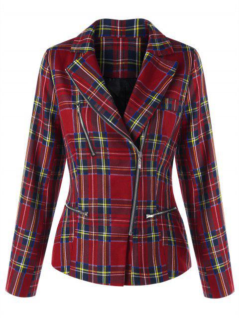 Checked Zip Fly Jacket - CHECKED L