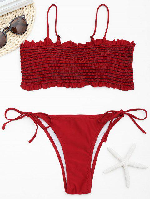 Low Waisted Smocked Bikini Set - DARK RED M