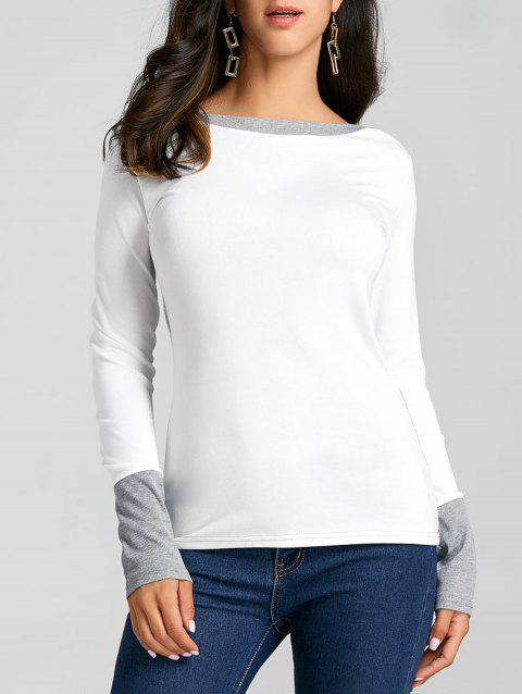 Boat Neck Color Block Knit Top - WHITE S