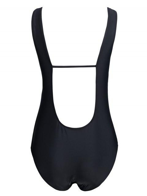 One Piece Backless Plus Size Swimsuit - BLACK 3XL
