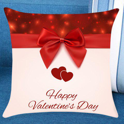 Valentine's Day Bowknot Printed Pillow Case - RED W18 INCH * L18 INCH