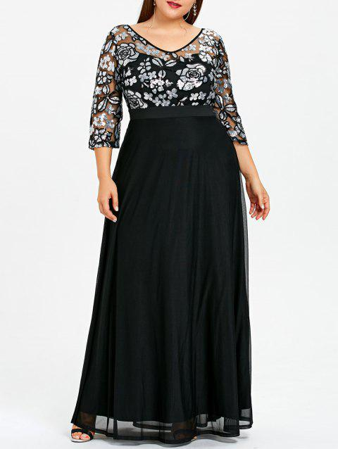 Plus Size Sequined Floral Sheer Prom Dress