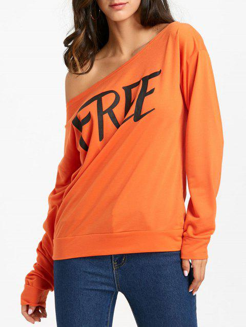 Free Print One Shoulder Sweatshirt - ORANGE L