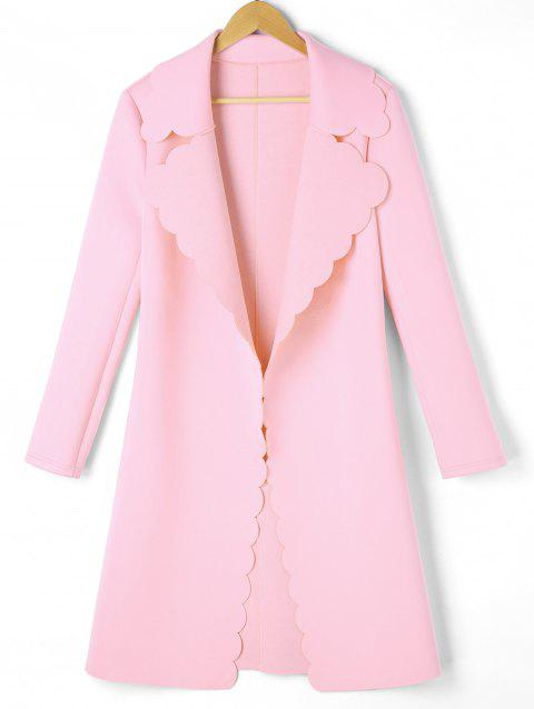 Scalloped Open Front Coat - PINK M