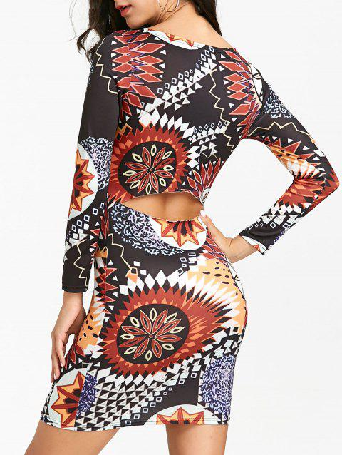 Ethnic Print Mini Bodycon Dress - FLORAL M