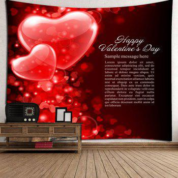 Letters and Hearts Pattern Valentine's Day Wall Tapestry - RED W91 INCH * L71 INCH