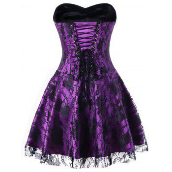 Strapless Lace Up Corset Dress - BLACK/PURPLE XL