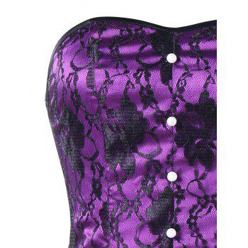 Strapless Lace Up Corset Dress - BLACK/PURPLE 2XL