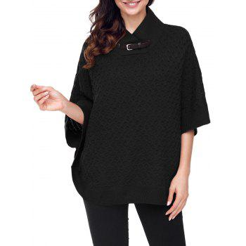 Knitted Buckle Strap Cape Sweater - BLACK M