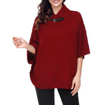 Knitted Buckle Strap Cape Sweater - BURGUNDY M