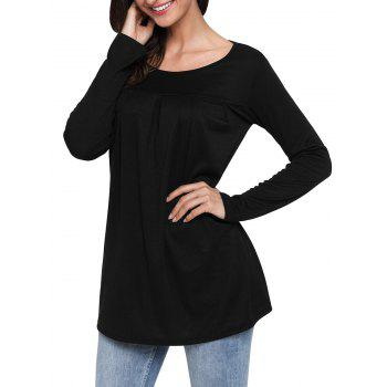 Long Sleeve Scoop Neck Tunic Top - BLACK XL